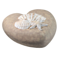Side view of beach stone Eco-Friendly Shells Heart Pet Urn- Medium