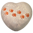 Eco-Friendly Heart Pet Urn- Hand-painted Pawprints Small