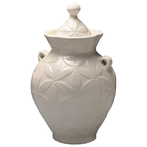 Pottery Pet Urn- White Petals