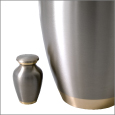 Pet Urn Keepsake Pewter with Two Gold Bands