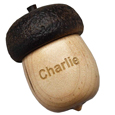 Acorn Pet Keepsake Urn with Engraved Dog Paw shown with pet name