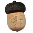 Acorn Pet Keepsake Urn with Engraved Sleeping Kitty