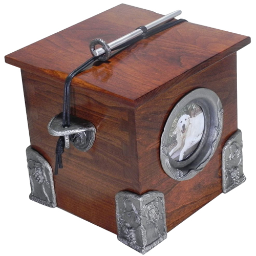 Wooden Pet Urn Solid Cherry with Hand Cast Pewter Side Brackets, Corners & Picture Frame