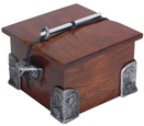 Wooden Pet Urn Solid Cherry with Hand Cast Pewter Side Brackets & Corners