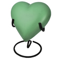 Brass Heart Pet Urn- Sage shown on display stand