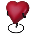 Brass Heart Pet Urn- Scarlet shown on display stand