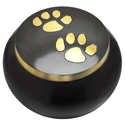 Pet Cremation Urns- Gold Puppy Pawprints Gloss, Large