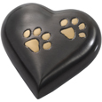 Pet Urn Keepsake- Gun Metal Heart with Brass Pawprints