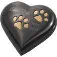 Gun Metal Heart with Brass Pawprints shown engraved