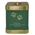 Brass Square Cat Urn- Sage shown with engraved block text and clip art