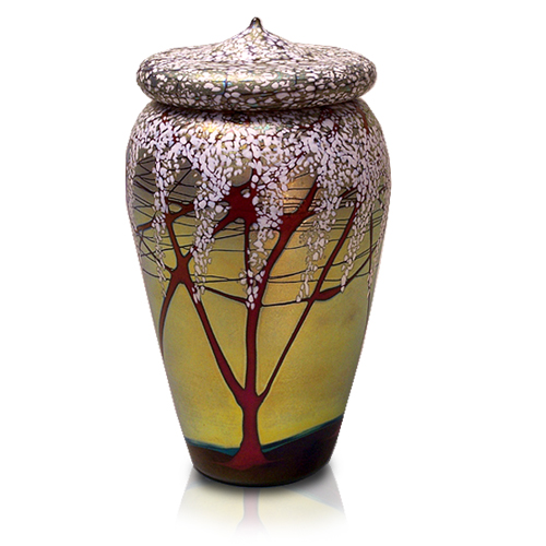 Glass Pet Urn Tall Cherry Blossom