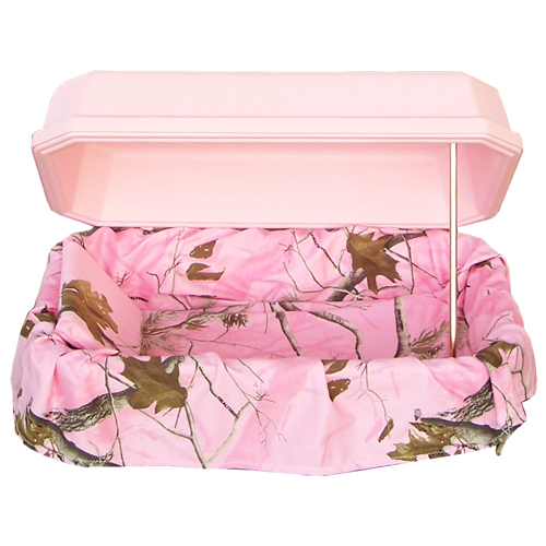 Nature Series Pink Pet Casket with Camouflage Interior