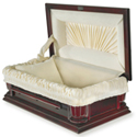 Poplar Dark Cherry Stained Exterior Velvet Interior Pet Casket