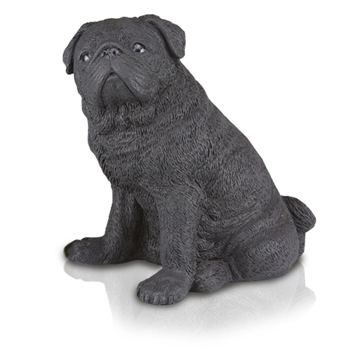 Figurine Dog Urns: Pug Black