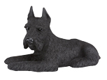 Figurine Dog Urns Schnauzer, Ears Up, Black