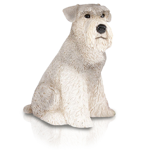 Figurine Dog Urns: Schnauzer, Ears Down, Gray