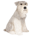 Figurine Dog Urns Schnauzer, Ears Down, Gray