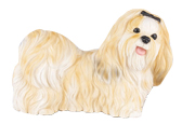 Figurine Dog Urns Shih Tzu Gold & White