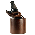 My Companion Urn Hands with Pet Labrador Retriever Black