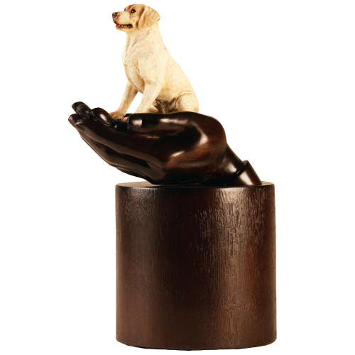 My Companion Urn Hands with Pet Labrador Retriever Yellow