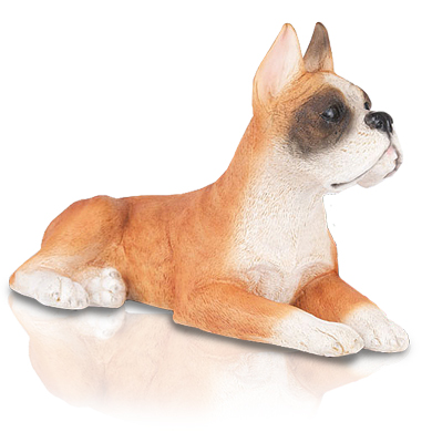 Figurine Dog Urns Boxer, Ears Up, Fawn & White