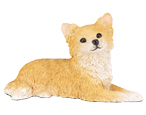 Figurine Dog Urns Chihuahua, Longhair, Fawn & White