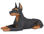 Figurine Dog Urns: Doberman Pinscher, Ears Up, Black