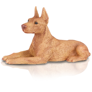 Figurine Dog Urns Doberman Pinscher, Ears Up, Red