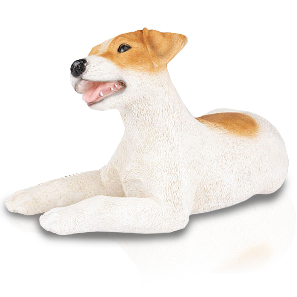 ~❤️~JACK RUSSELL DOG Puppy Statue White Brown Resin Figurine 16cm~❤️~