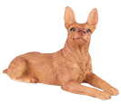 Figurine Dog Urns Miniature Pinscher Ears Up Red