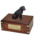 Black Labrador Retriever Figurine Wood Urn