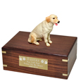 Yellow Labrador Retriever Figurine Wood Urn
