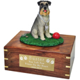 Pet Urns Schnauzer, Gray - On Grass with Ball