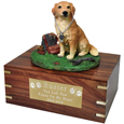 Golden Retriever Figurine Wooden Urn with plaque