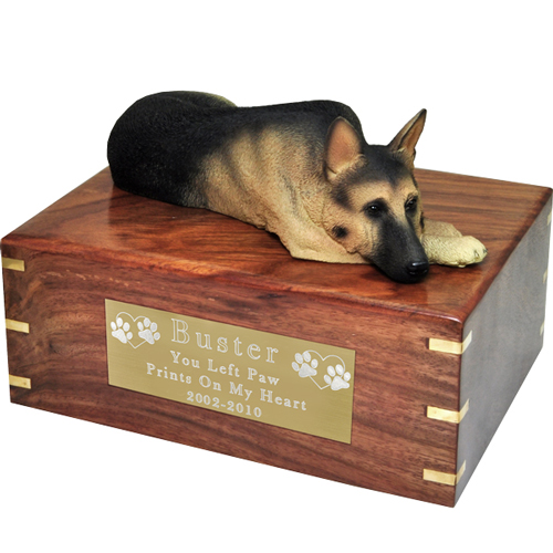 German Shepherd Figurine Wooden Urn- Laying