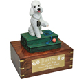 Poodle White with Sport Cut Dog Figurine Wood Urn