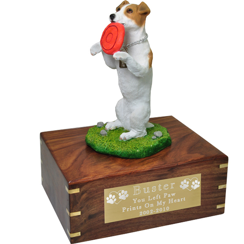 Jack Russell Terrier Figurine Wood Urn shown with engraved plaque