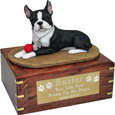 Boston Terrier Figurine Wooden Urn- with ball