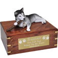 Husky Dog Figurine Wood Urn with stick