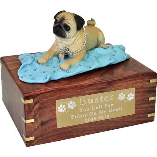 Pug Figurine Wooden Urn- on blanket