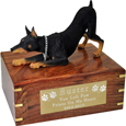 Doberman Pinscher Figurine Wooden Urn