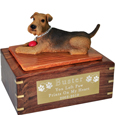 Airedale Figurine Wooden Urn- with ball