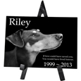 Dog Memorial Plaque - Rectangle shown on easel