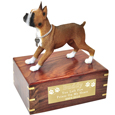 Boxer Tawny White Figurine Wooden Urn
