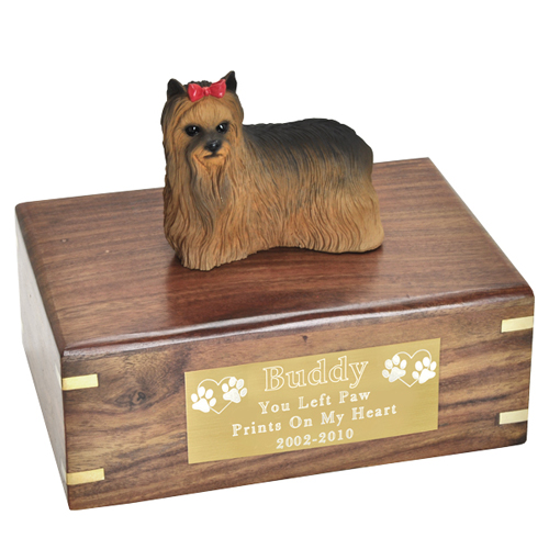 Pet Urns Yorkshire Terrier Figurine Wood Urn- with Ribbon