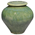 Sculpture Pet Urn Green Leaves