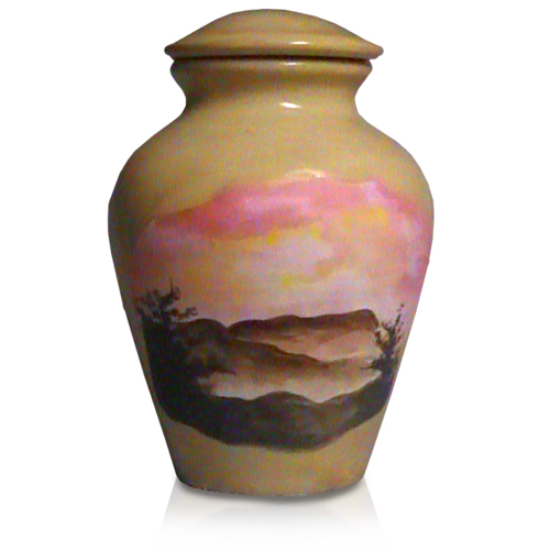 Ceramic Pet Urn Misty Mountains