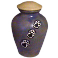 Ceramic Pet Urn Paw Print Trail Bluestone