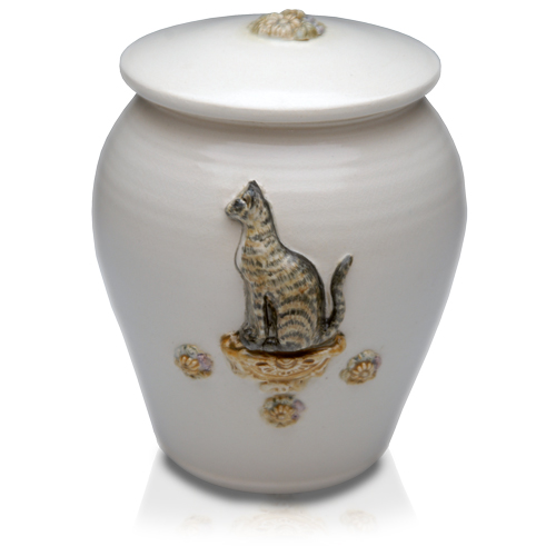 Sitting Pretty Hand-Painted Kitty Urn- Custom pet portrait!