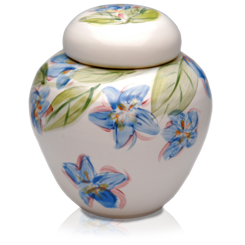 Flower Blossoms Hand-painted Pet Urn shown in Blue